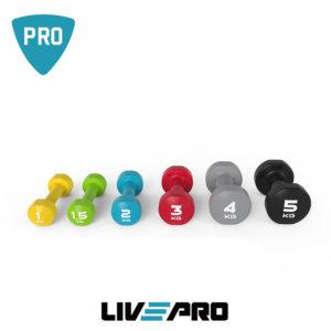 Na slici su plastificirane bučice proizvođača Livepro u dimenzijama od 1kg, 2kg, 3kg, 4kg, 5kg.